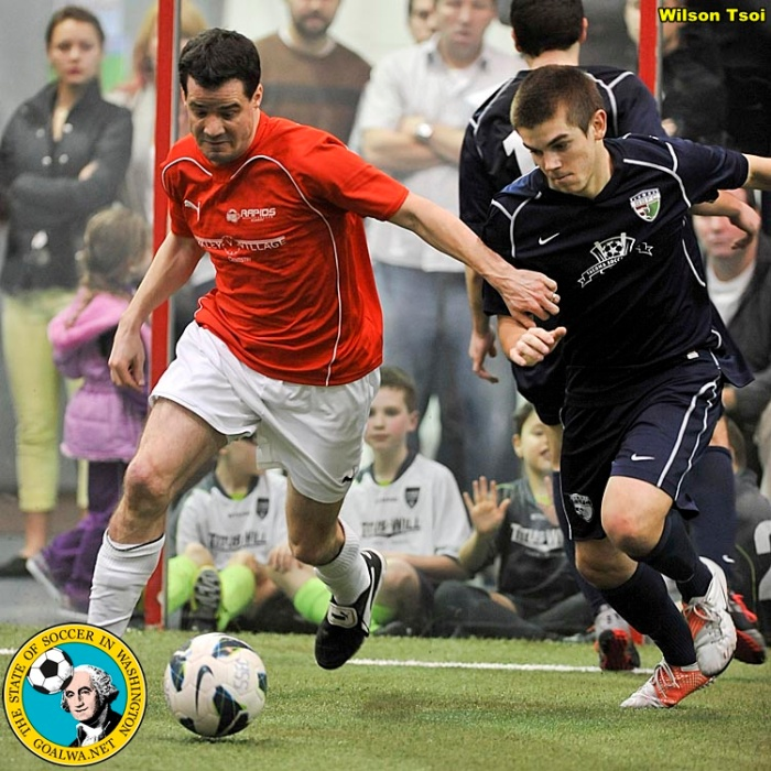 The Rapids (seen here in orange-red) played the South Sound Shock in an epic 2012 playoff battle. Both teams are in the WISL as Bellingham United and (South Sound) the Tacoma Stars.