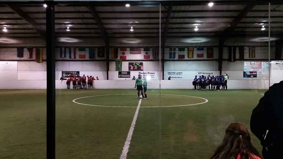 Before first kick at Soccer First Indoor Sports: Arlington at left, Seattle at right.