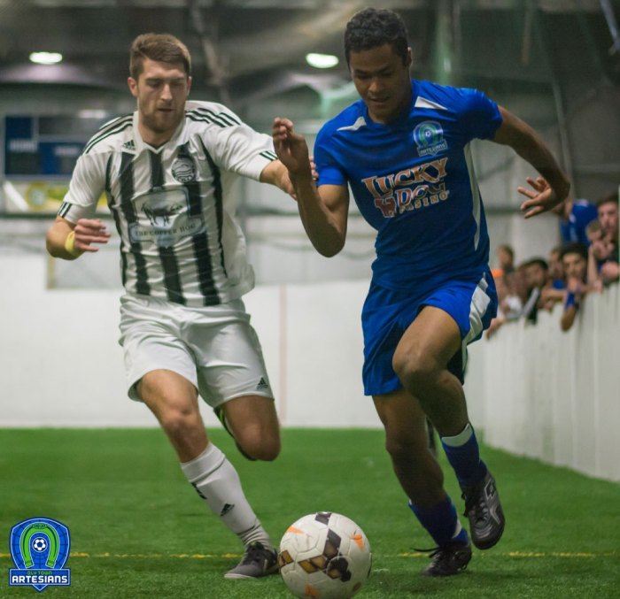 A second straight close battle between the Hammers and Artesians on Jan. 3. (OlyTownFC.com / Charise Wright)