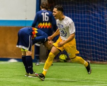 Everett FC hosts Tacoma Stars Reserves at Everett Soccer Arena to open 2015 WISL semi-pro indoor soccer league on November 21, 2015.